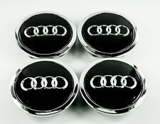 4x Audi 77mm Black Chrome Wheel Center Emblems Caps A5 A6 A7 A8 Q5 Q7 4L060117