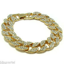 "Miami Cuban Link CZ 15mm Full Iced-Out Hip Hop Gold Plated 8"" Chain Men Bracelet"