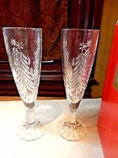 Mikasa Crystal CHRISTMAS TREE SN106 - 2 Fluted Champagne Glasses W/ Box