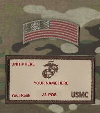 MARSOC USMC ID TAPE Custom Embroidery Name/Rank/AB+ POS/Unit + Flag Tab