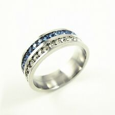 316L Stainless Steel Double Blue&Clear CZ Wedding 7mm Band Ring Size 6.5