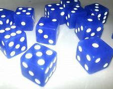 100 x LARGE CASINO STYLE Six Sided BLUE Dice 19mm Craps - FREE SHIPPING