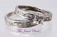 Princess cut D/VVS Solitaire Diamond Engagement Ring Wedding Band Set White Gold