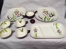 Lot (9) Vintage Red Wing Pottery Iris 4 Cup 2 Dinner Plate Tray Salt Sugar Bowl