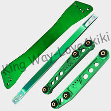 GREEN Rear Lower Control Arm + Subframe Brace + Tie Bar For Honda Civic 92-95