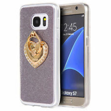 For Samsung Galaxy S7 Purple Sparkle TPU with Gold Diamond Ring Cover Case