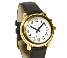 Ladies Deluxe Talking Wrist Watch Gold Tone w / Black Leather Band - Low Vision