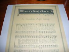 Millions Now Living Will Never Die Golden Age Song 1889 Watchtower C.T. Russell
