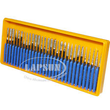 30pcs Diamond Coated Rotary Point Head Burrs Drill Bit Grinding F Die Grinder US