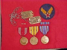 ORIGINAL WWII USAAF NOK DOG TAGS / MEDALS / PATCH GROUPING