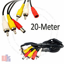 20M CCTV Security Spy Camera AV Audio Video RCA DVR Power Phono Extension Cable