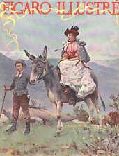Child Leading Donkey, Burro, Lady Riding Sidesaddle, 1894 French Antique Print