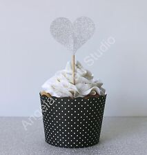 12 Silver Glitter Heart Cupcake Topper/Picks - Love Wedding Engagement - D/Sided