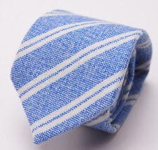 New $275 MATTABISCH NAPOLI by KITON 100% Cashmere Tie Heather Sky Blue Stripe