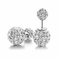 Crystal Ear Stud Jewelry Silver Plated Double Sided Balls Bead Earrings TSUS