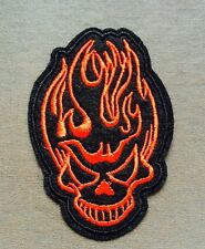 """High Quality Flaming Devil Skull Embroidered Iron On Patch (1.75"""" X 2.5"""")"""