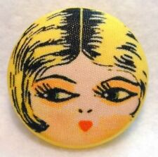 """1920s Flapper Girl Button Hand Printed Fabric """" Sunny """""""