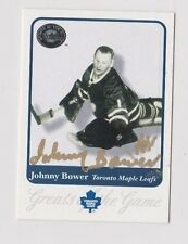 2001 Greats of the Game Johnny Bower Toronto Maple Leafs Autographed Card