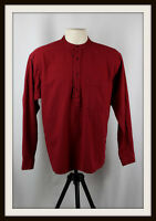 WINE RED ~ COLLARLESS LONG SLEEVE GRANDAD SHIRT ~ 100% COTTON ~ S, M, L, XL, XXL