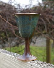 Spun Pottery Art Drinking Glass Wine Goblet Signed by Artist Handmade Blue Brown