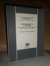 TRATTATO DI PSICOLOGIA SPERIMENTALE - APPRENDIMENTO E MEMORIA - EINAUDI - 1973