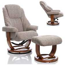 The Emperor - Premium Wheat Fabric Recliner Swivel Chair & Footstool
