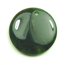 1 HUGE NATURAL Moss Agate Flat Round Coin Pendant Bead 40mm S163