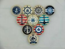 Set of 10 Anchors Away Nautical Cabinet Knobs Drawer Knobs
