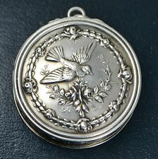 Antique FRENCH Solid Silver PATCH /Pill Box Flying BIRD & Roses PENDANT / Locket