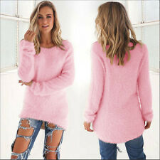Women's Winter Fuzzy Sweater Casual Long Sleeve Warm Coat Jumper Pullover Tops