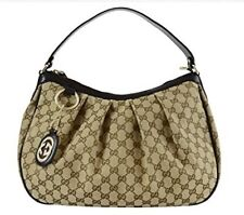 Gucci Sukey Hobo Gucci Monogram Brown Beige Leather Bag Handbag - RRP700