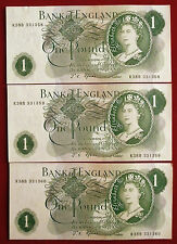 """3 EXCELLENT CONSEC Fforde £1 Notes with """"G"""" ON BACK R38B 331358 to R38B 331360"""