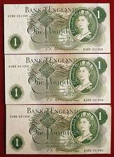 """3 excellent consec fforde £ 1 notes avec """"g"""" sur le dos R38B 331358 à R38B 331360"""