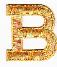 "LETTERS-GOLD METALLIC 1 3/4"" LETTER ""B"" - Iron On Embroidered Applique"