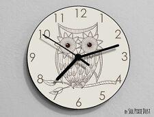 Owl Hand Drawing 3 Wall Clock - Kids Nursery Room,Teens Room - Wall Clock
