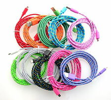 10x Colorful 2 M 6 FT Micro USB Charger Braided Cable Cord For Samsung S3 S4 HTC
