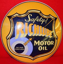 "Richlube Motor Oil Steel 12"" Dome Sign ....Buy It Now"