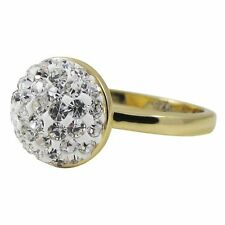 White Pave Crystals Shamballa Inspired Yellow Gold-Tone Sterling Silver Ring (5)