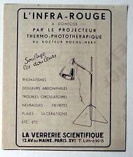 Publicité ancienne projecteur thermo phototherapique,Verrerie scientifique 1936