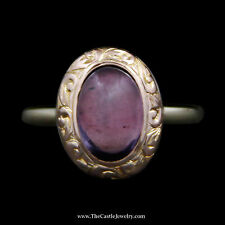 Charming Oval Cabochon Amethyst Ring w/ Swirl Design Bezel in 14k Yellow Gold