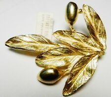 18 Kt Gold Plated OLIVE BRANCH Brooch/Pin-SIGNED-HSN-July 2004 Olympics GREECE