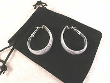 Large Tribal Style Silver Plated Oval Mesh Ladies Earrings + Free Gift Bag