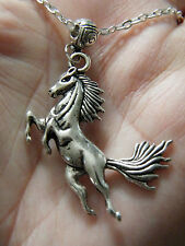 "HORSE NECKLACE Silver WILD RUNNING STALLION Horse Races Charm 24"" Chain NEW! Big"