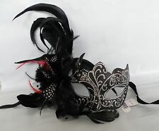Masquerade Face Mask Black & Silver With Feathers - *NEW* Express Post Avaliable