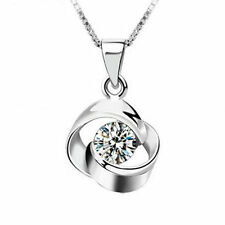 wholesale 925 Silver Crystal Pendant Necklace Elegant Women's Fashion Jewelry
