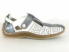 Remonte Rieker Antistress Perforated Shoes White Gray Woman's  8.5 / 40