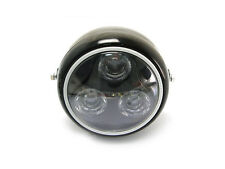 Black Metal Moto Led Linterna Con Blanco Halo Anillo Ajuste Norton Cafe Racer