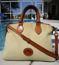 DOONEY & BOURKE TAN CANVAS & LEATHER CROSSBODY SATCHEL PURSE BAG