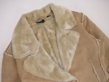 G6246 FOXHOLE SHEEPSKIN COAT ORIGINAL PREMIUM BEIGE COLLARED FUR LINING size 12