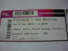 FLORENCE & THE MACHINE - UNUSED 2012 CONCERT TICKET